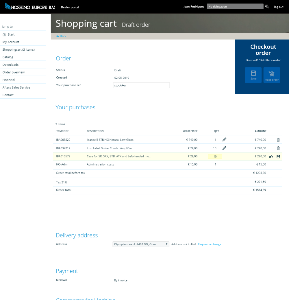 Shopping Cart - Orderinvoer